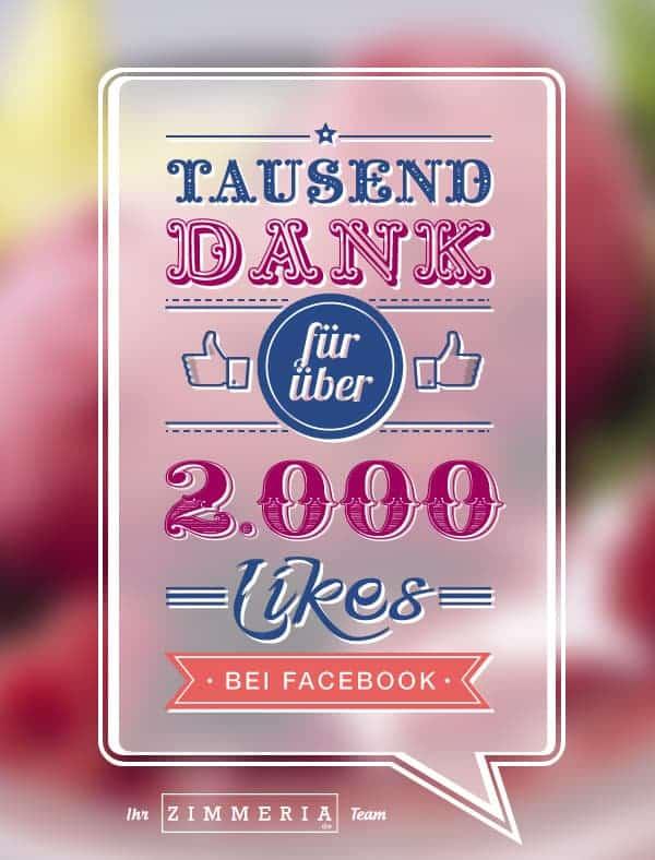 2000 Likes bei Facebook Zimmeria