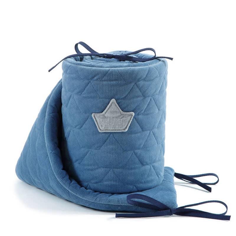 Bettnestchen-Bettumrandung-Velvet-von-La-Millou-Denim-Blau