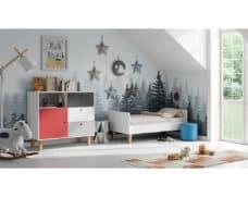 Kinderzimmer Concept Grau Rot Weiß umgebaut