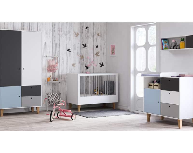 Babyzimmer Concept Grau Blau Weiß