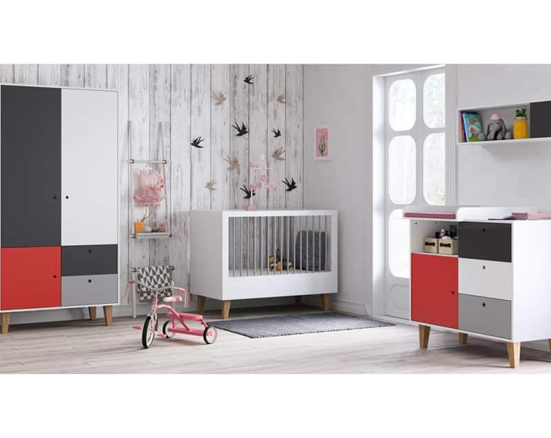 Babyzimmer Concept Grau Rot Weiß