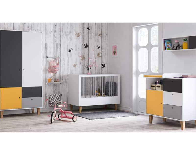 Babyzimmer Concept Grau Gelb Weiß