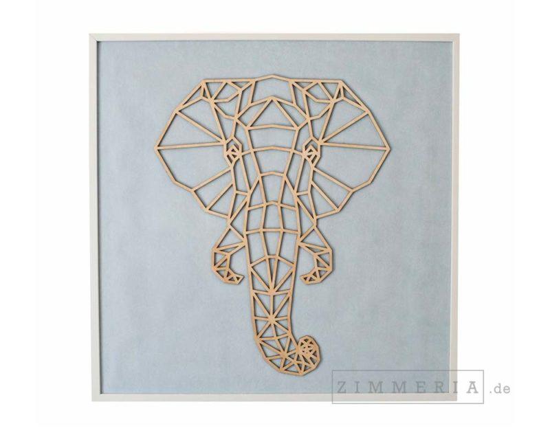 Textilbild Elefant Velours & Holz 62 cm Kinderzimmer Deko bei Zimmeria.de