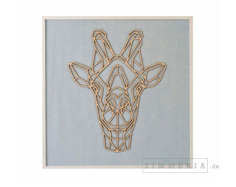 Textilbild Giraffe Velours & Holz 62 cm Kinderzimmer Deko bei Zimmeria.de