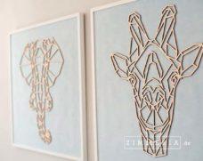 Textilbild Giraffe & Elefant Velours & Holz 62 cm Kinderzimmer Deko bei Zimmeria.de