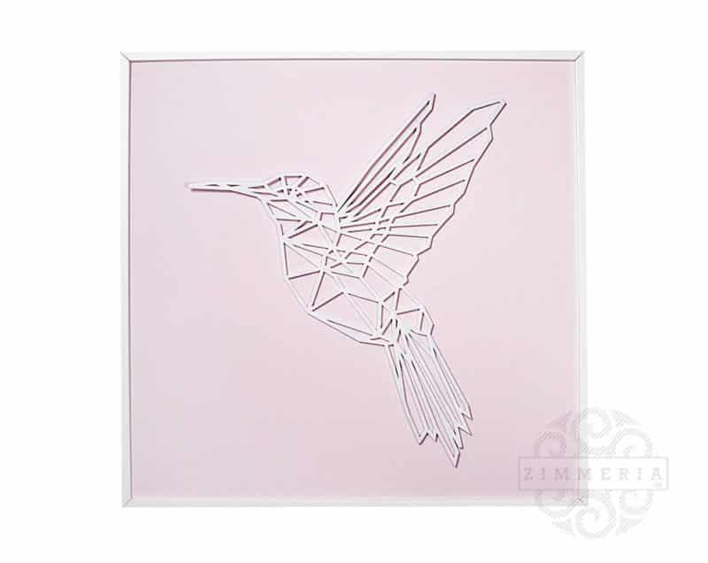 """Textilbild """"Kolibri"""" Velours Hellrosa 62 cm Kinderzimmer Deko bei Zimmeria.de"""