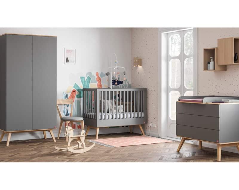 Babyzimmer-Set Nature Baby in Grau mit Eiche